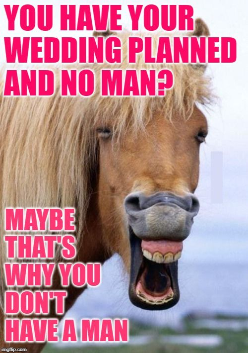 Wedding Horse Sense: You have your wedding planned and no man? Maybe that's why you don't have a ...