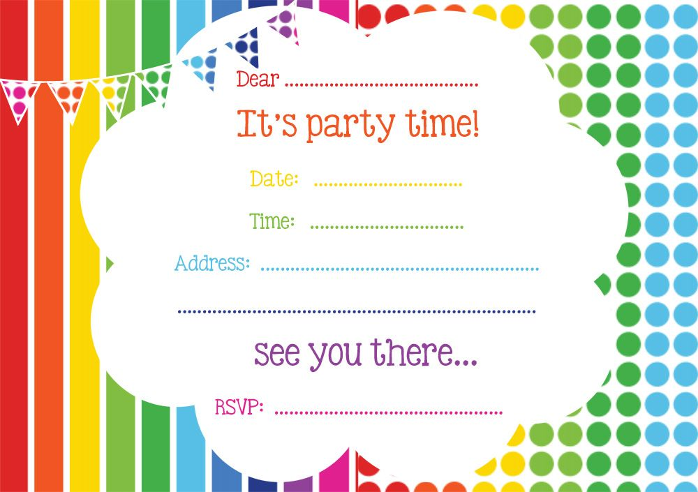 Free Rainbow Party Invitation Birthday Party Invitations Printable Birthday Party Invitations Free Free Party Invitations