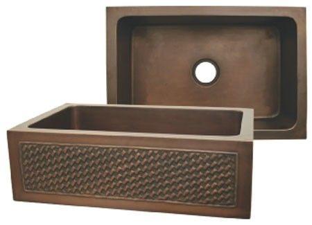 Whitehaus WH3020COFCBW Copper Single Bowl Front Apron Kitchen Sink ...