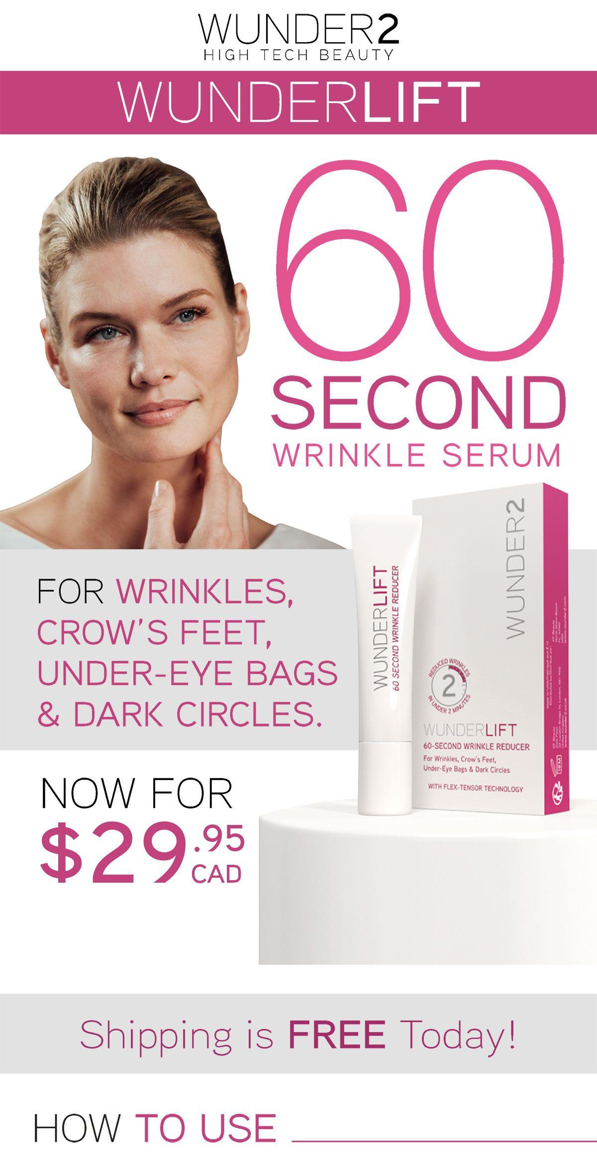 Wunderlift Face wrinkles, Wrinkle serum, Under eye bags