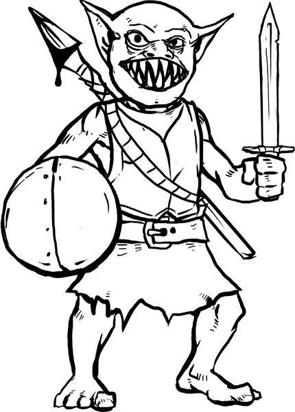 Hero Kids Monster Goblin Warrior With Spear Jpg 430 600 Coloring For Kids Coloring Pages For Kids 4 Kids