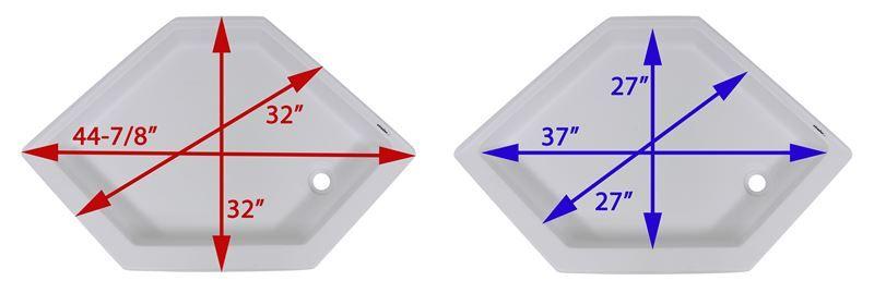 Better Bath Rv Shower Pan Right Hand Drain 32 Long X 32 Wide