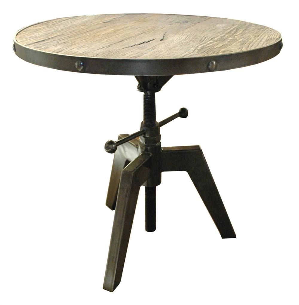 Rustic round coffee table sumner round industrial adjustable swivel accent side table