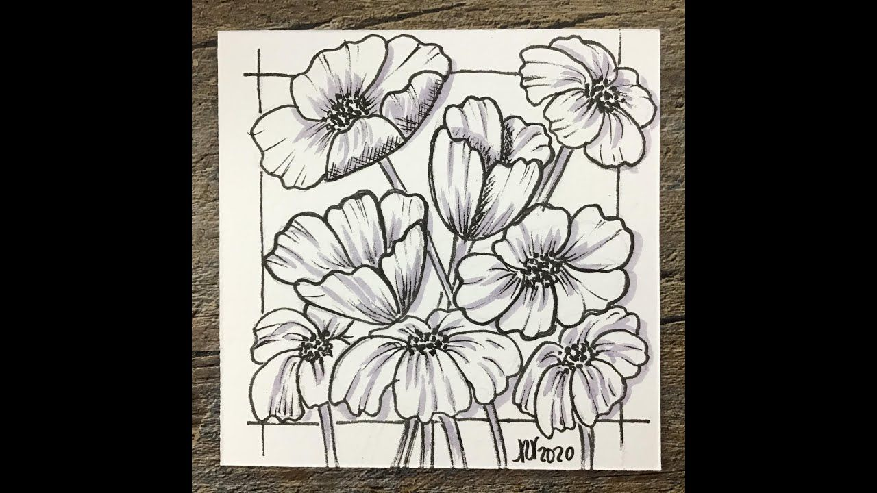 Easy Meditative Drawing Poppy Flowers Inspiration Drawing Relaxation Positivity Withme Youtube In 2020 Poppy Flower Drawings Fabric Paint Designs