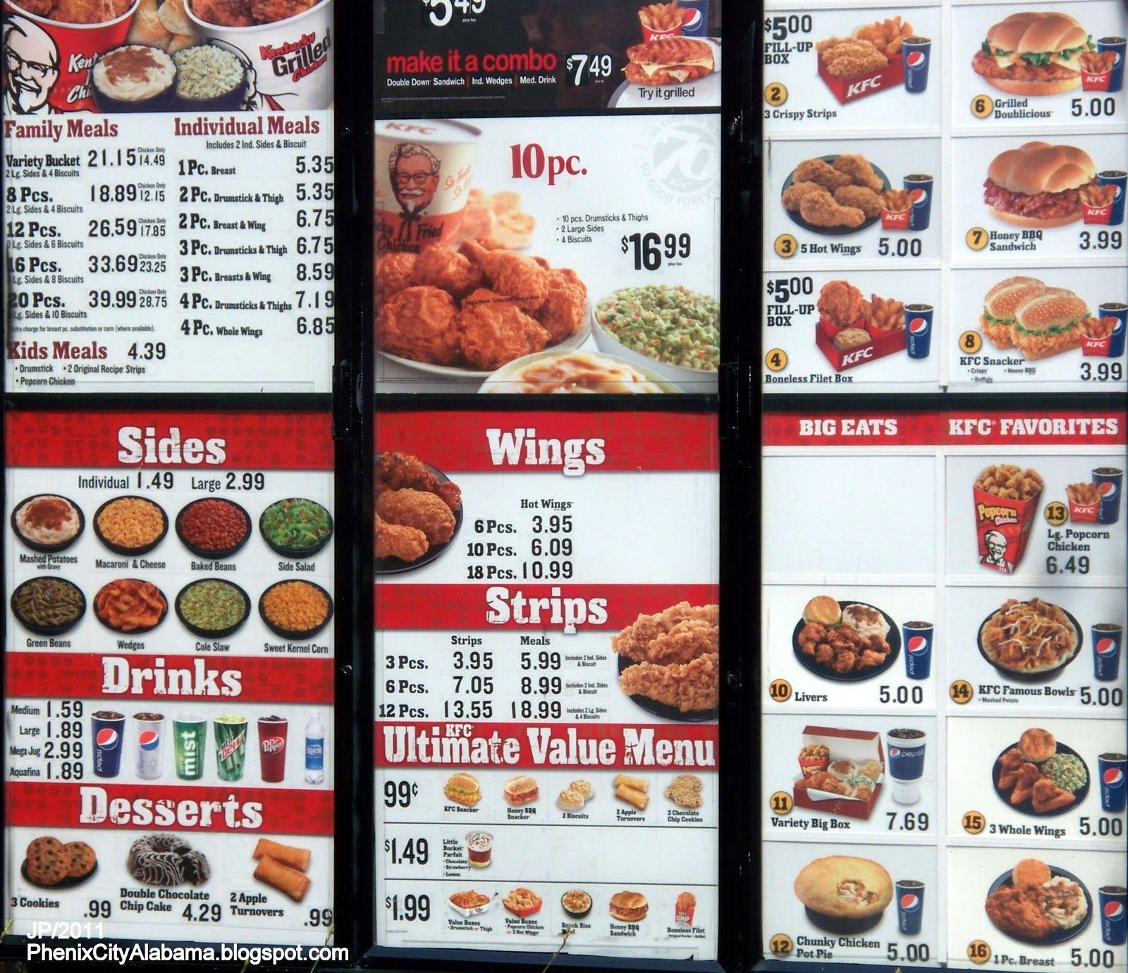 Kfc Menu Prices Deep Fried Foods