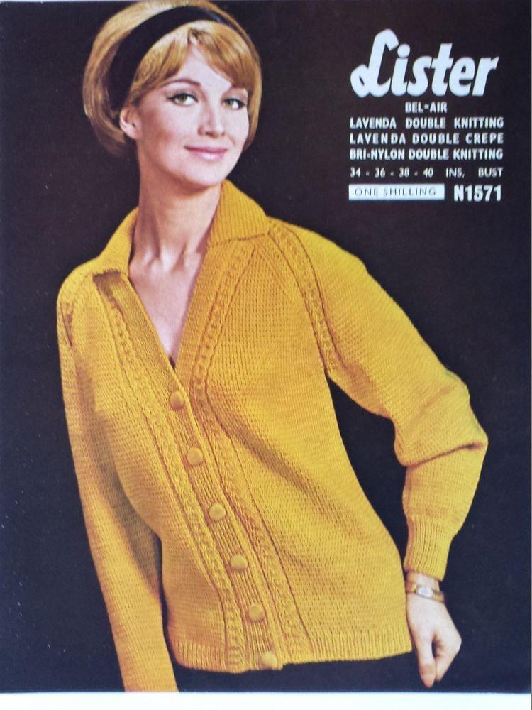 f198f7620 Vintage   retro knitting pattern Lister N1571 ladies DK v-neck cardigan   Lister