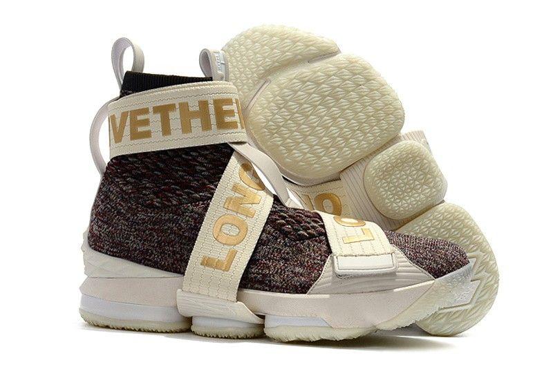 1621921ea4f Nike LeBron 15 Strap SVSM Mens Basketball Shoes Gold Multi Color ...