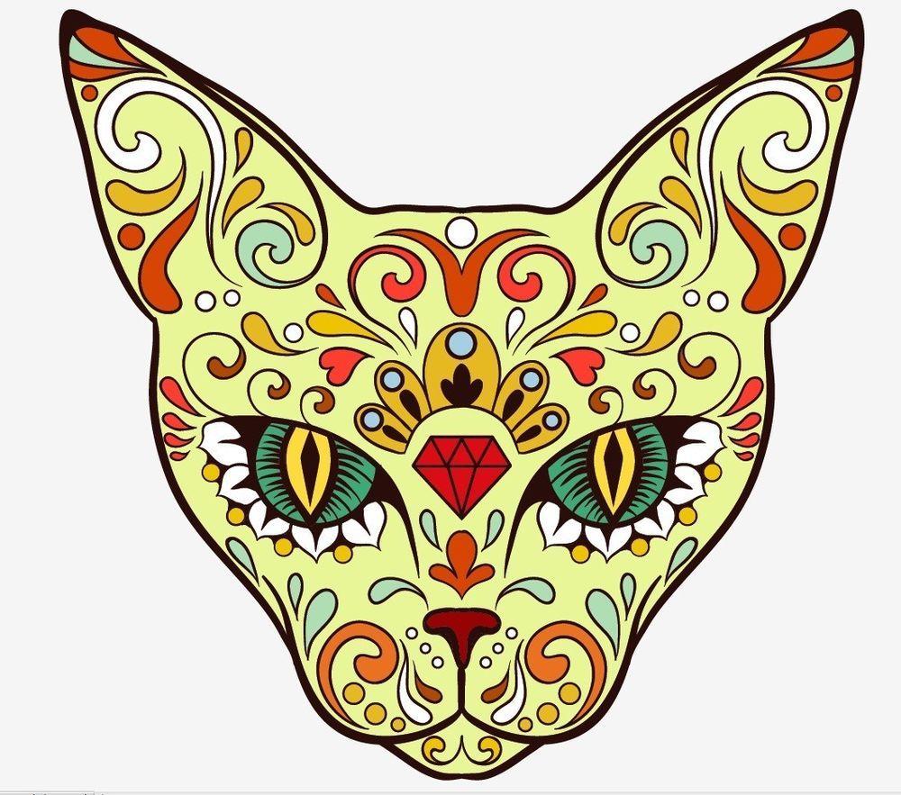 Animal cat Sugar Skull day of the dead sticker vinyl decal n37-5 ...