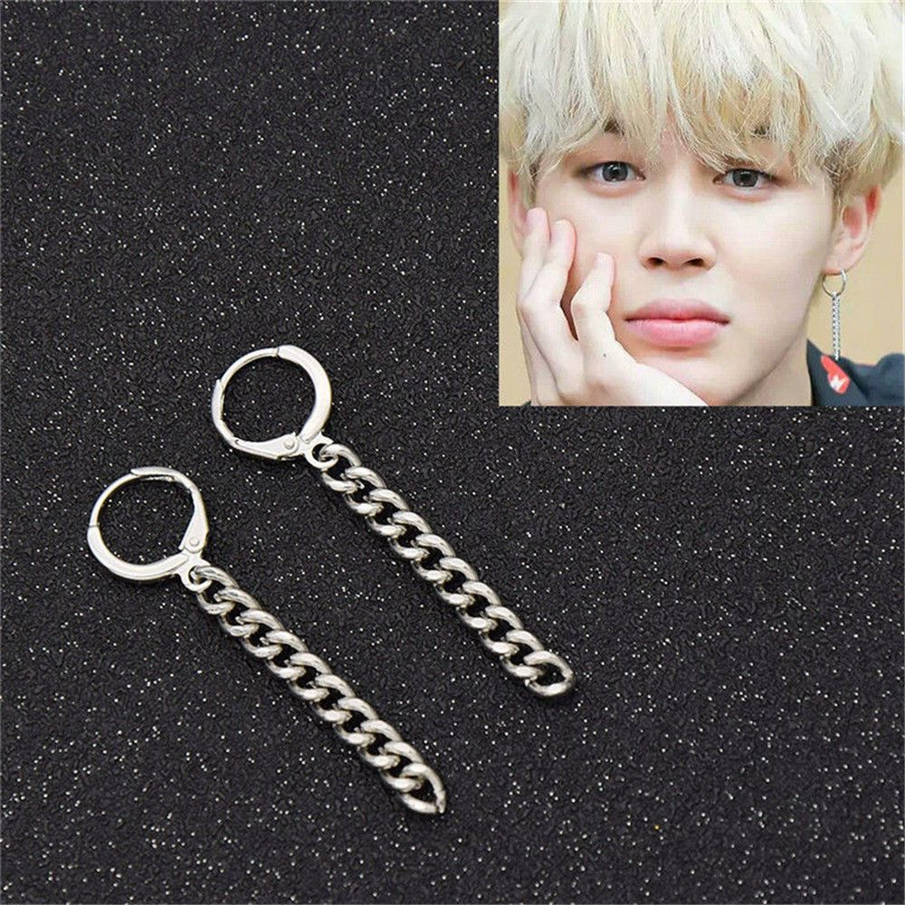 Bts Jimin Korean Kpop Silver Tel Drop Dangle Earrings Pendant Jewelry Gift