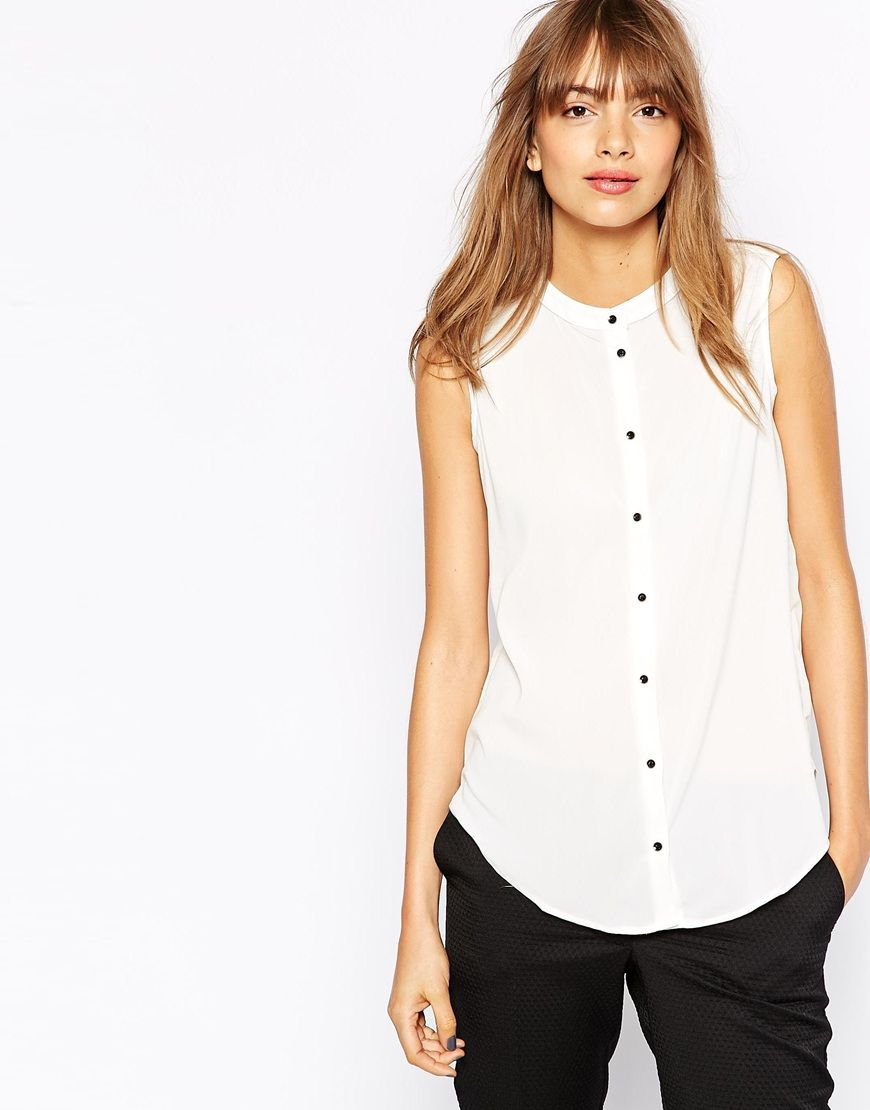 JDY Sleeveless Collarless Shirt | WANT | Pinterest | Fashion ...