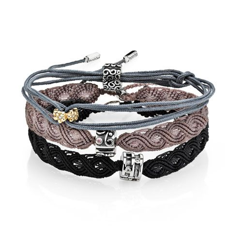 ff8bdc740 We LOVE the macrame bracelets. They hold one of the pandora clips. They are  available in black, grey, beige, coral and light purple.