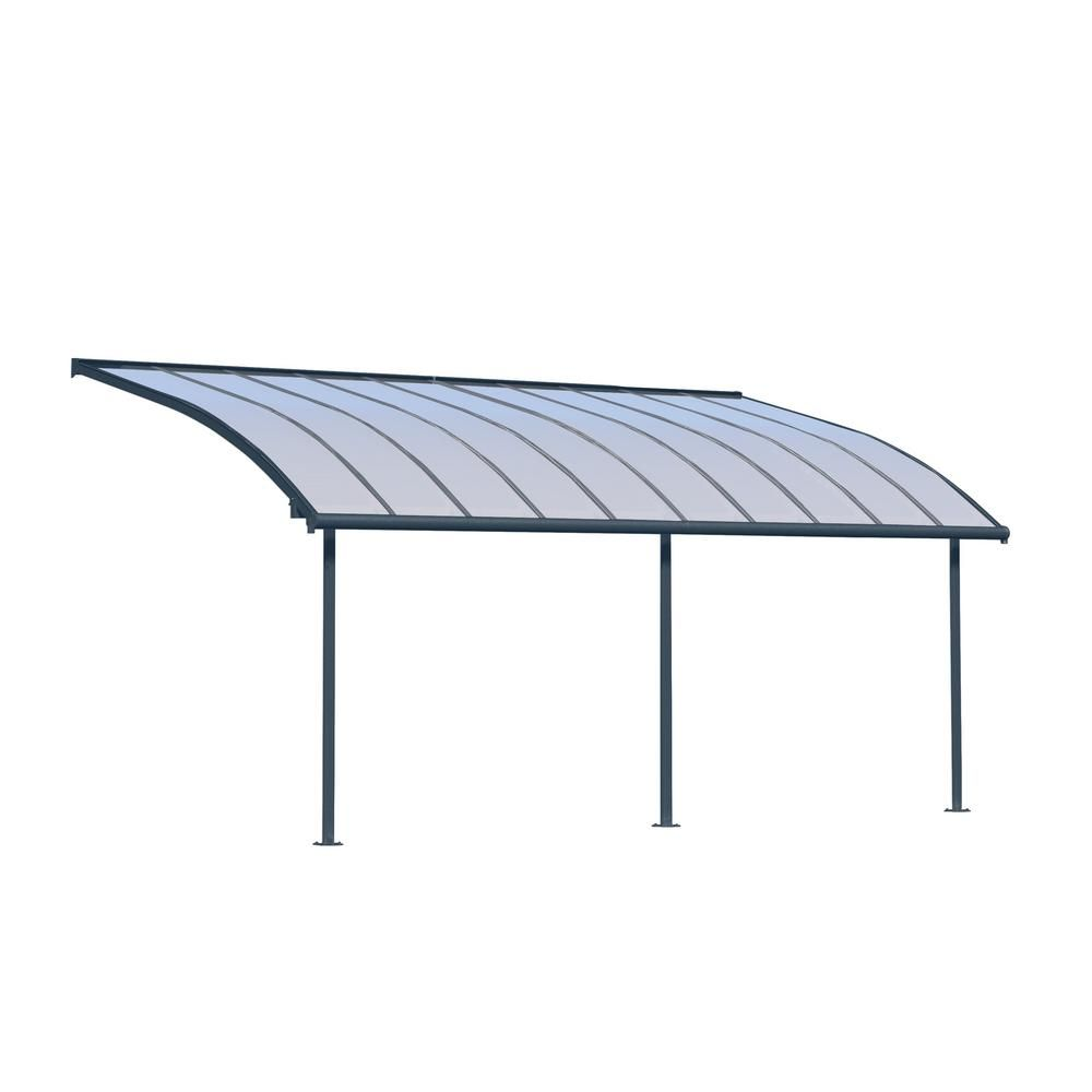 Palram Joya 10 Ft X 20 Ft Grey Patio Cover Awning Grays Patio Living Spaces Cover
