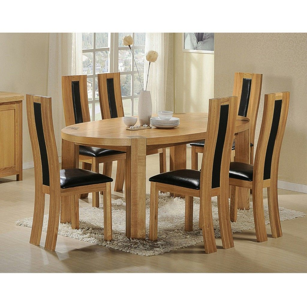 Zeus Oval Oak Dining Set 6 Chairs