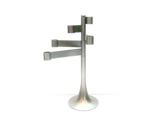 FeelingOfDejaVu sur Etsy - HABITAT Grand chandelier . Bougeoir pivotant . Métal gris . Vintage Années 80