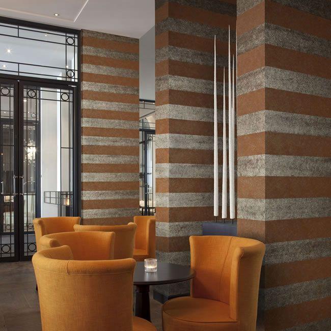 Luxury Wallcoverings Luxustapete 19 Metall Tapete Manhattan Rot Braun  Silber Streifen Tapeten Online Kaufen
