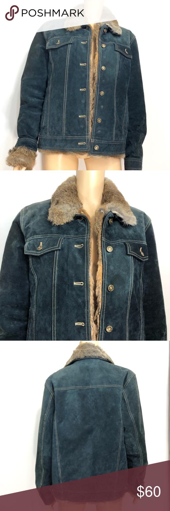 Blue Suede Coat W/Removable Fur Collar Large Blue suede