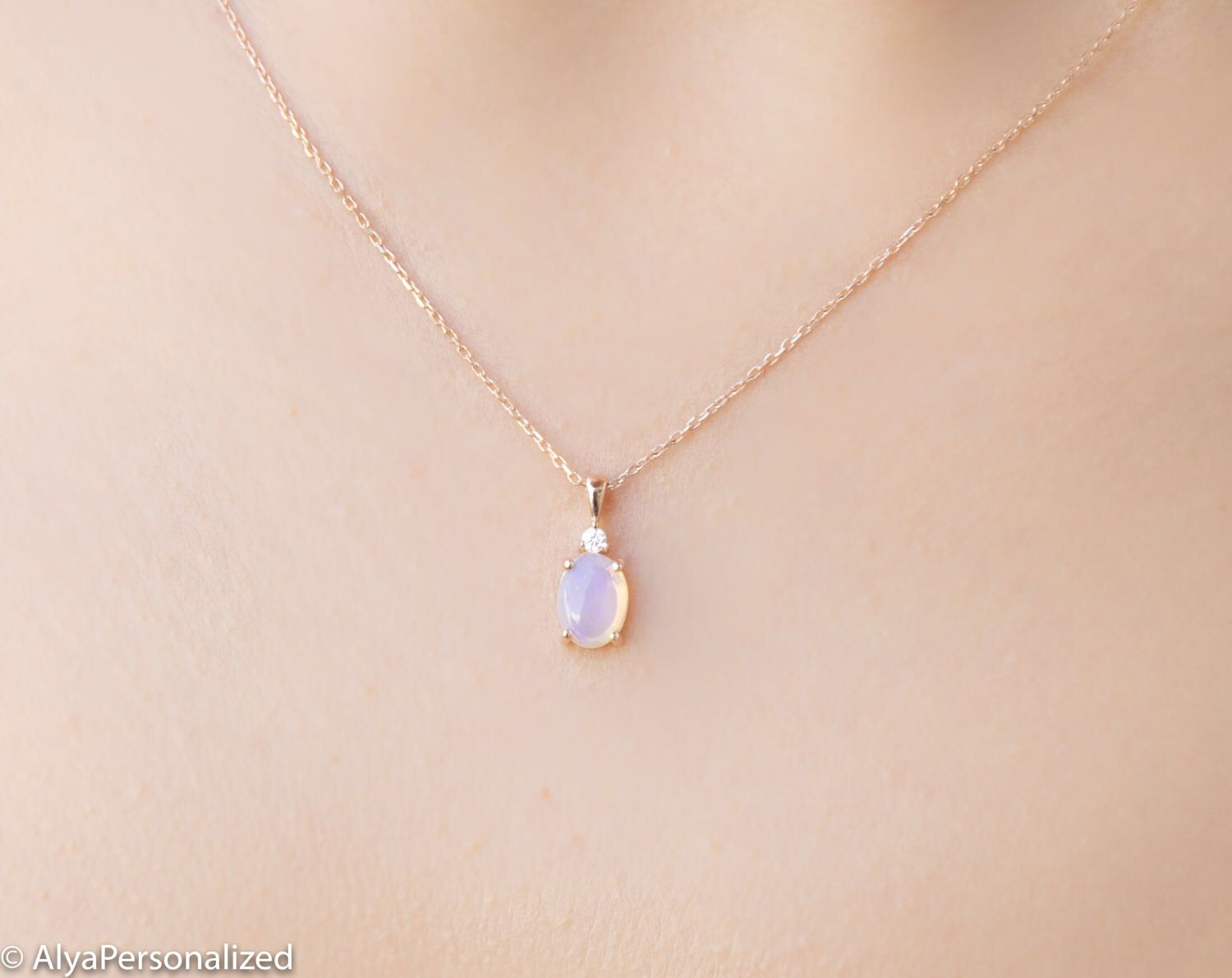 920e88b6b Moonstone Necklace - Rose Gold Minimalist Necklace - Simple Necklace - Pendant  Necklace - Minimalist Jewelry - Delicate Charm Necklace