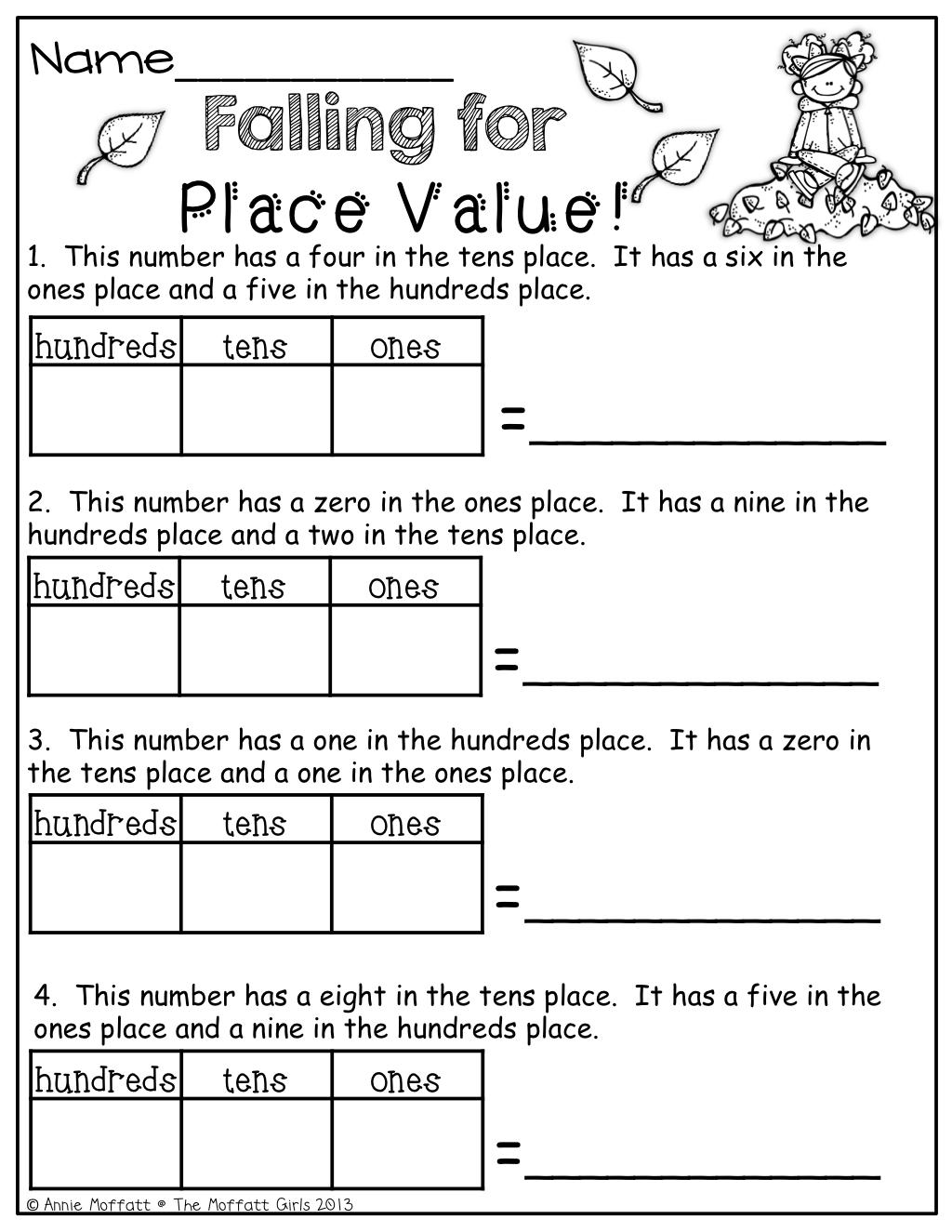 The Moffatt Girls: Fall Math and Literacy Packet (1st Grade)   Second grade  math [ 1325 x 1024 Pixel ]