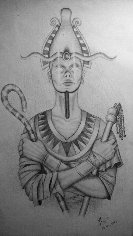 Osiris, God of Judgment Drawing | Egyptian tattoo ...