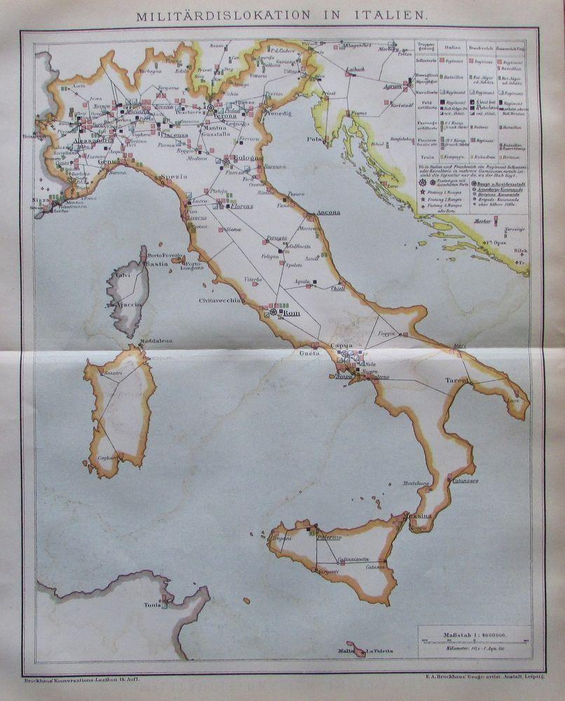 Details Zu Militardislokation In Italien 1894 Historische Alte