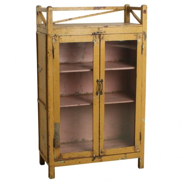 Yellow & pink cabinet - We travel through India to find to most beautiful and unique cabinets. Without losing the story of their past we fix the cabinets where necessary, while keeping them as original as possible. Our mission is to pass them on to a new home where they will be appreciated for many years to come.