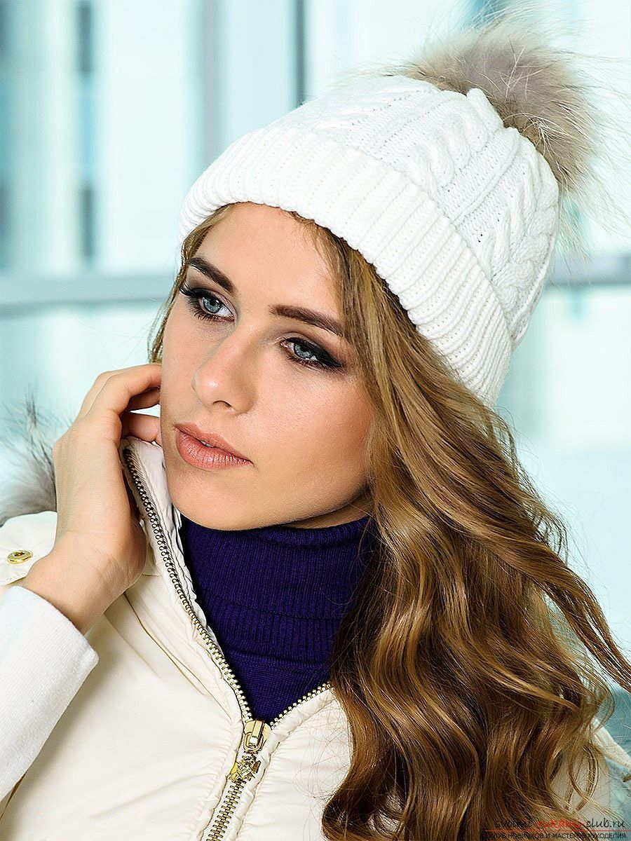 детская зимняя шапка с помпоном крючком схема