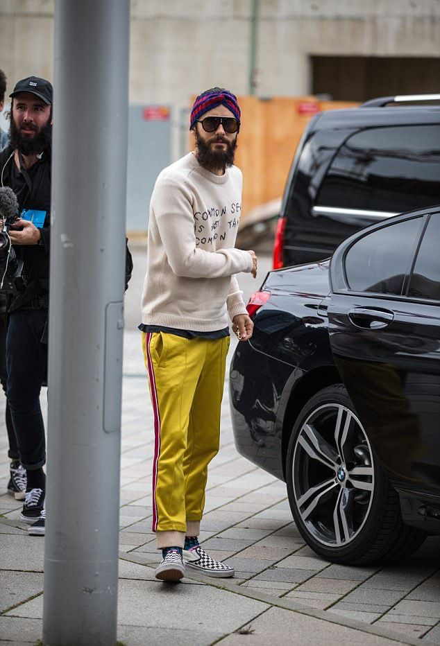 Jared Leto Weas Gucci Headband Sweater And Track Pants With Carrera