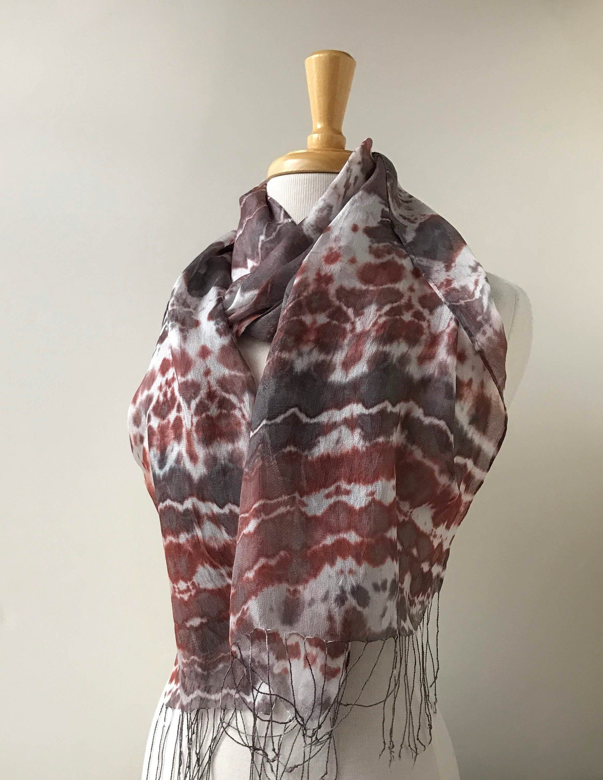 Naturally Dyed Shibori Scarf With Fringe 100 Silk Rust Burgundy Gray White Women Gift For Her Fashion Ti Shibori Scarf Pure Silk Scarf Naturally Dyed