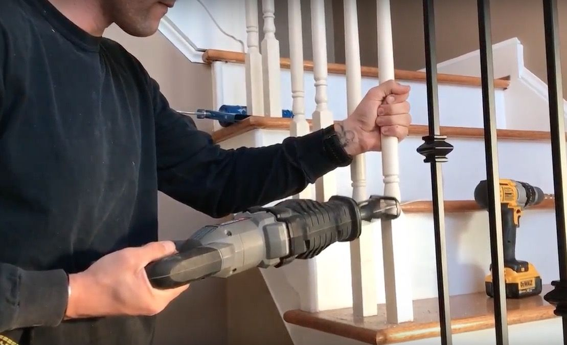 Best Changing Wood Stair Balusters To Iron 8 Steps With Video Stair Balusters Wood Stairs Diy 400 x 300