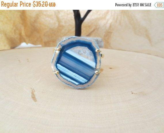 Spring Sale Agate slice cuff bracelet blue by PanachebyAmanda