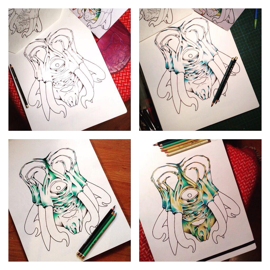 In progress a fanart drawing of doctor who.  It's dalek sec hybrid season three. Koh-i-noor colorpen. Mounshak