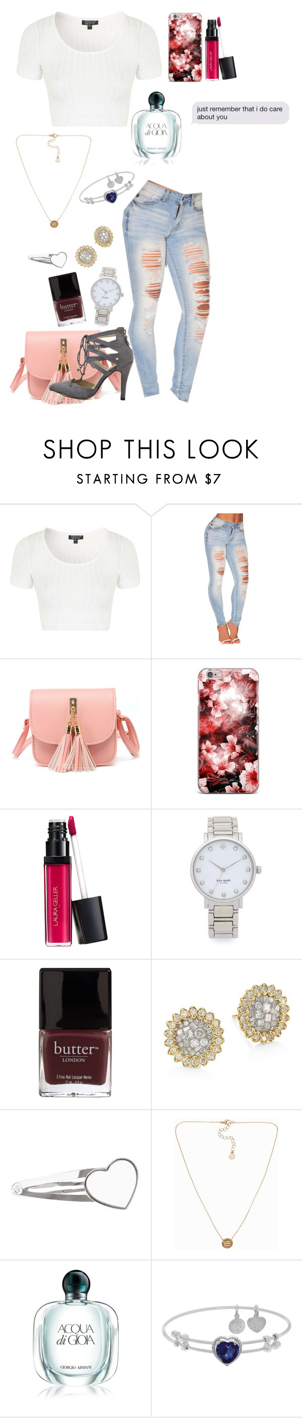 """""""Then y did u hurt me😔🔪"""" by enniahxox ❤ liked on Polyvore featuring Topshop, Kate Spade, Butter London, Plevé, Pieces and Armani Beauty"""