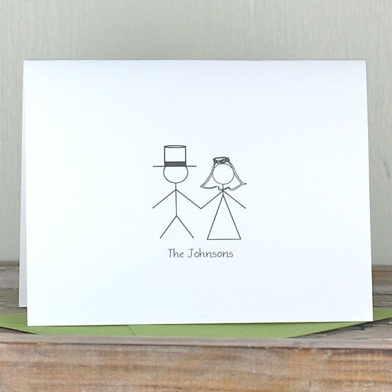 Wedding Thank You Cards Sets Stick Figure On Etsy 18 00