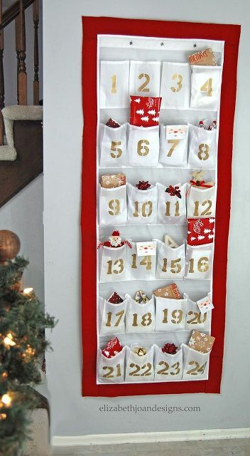 DIY Advent Calendar From a Shoe Organizer Shoes organizer, Advent