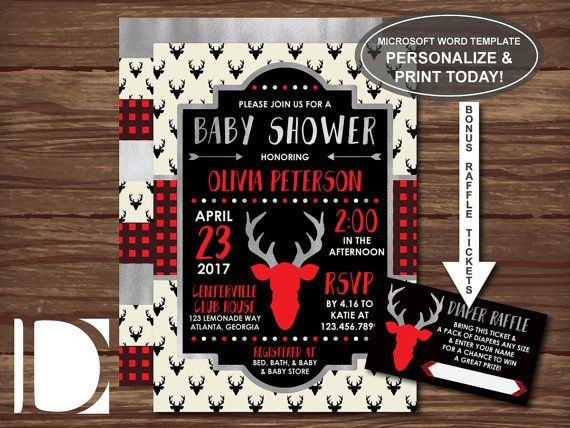 Woodland Deer Baby Shower Invitation in Red and Black Baby - how to make a baby shower invitation on microsoft word