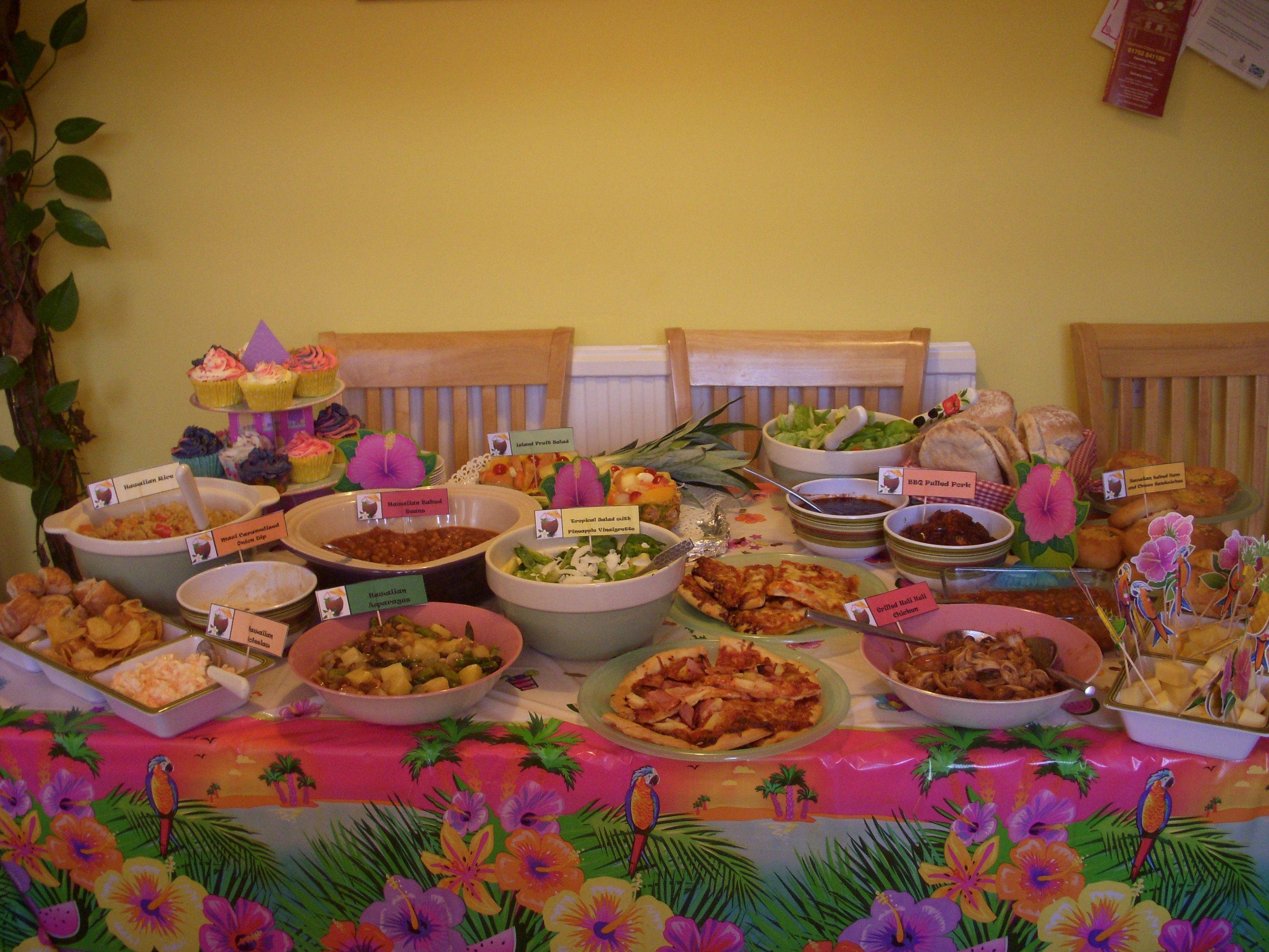 Hawaiian luau party food complete with authentic hawaiian