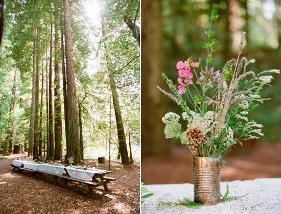 Pin for Later: 100 Ideas For a Summer Camp Wedding Picnic Among the Trees Photos by Love Me Sailor via 100 Layer Cake