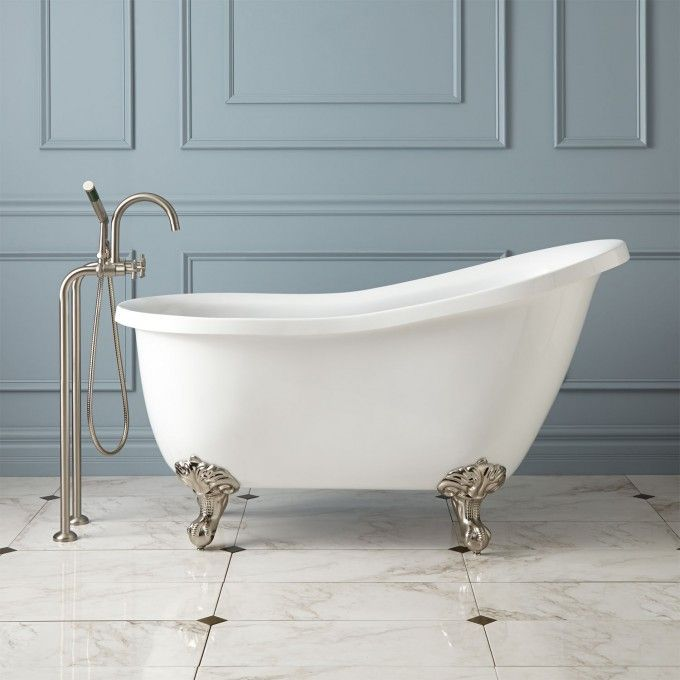 Ultra Acrylic Slipper Clawfoot Tub | Wall mount faucet, Oil rubbed ...