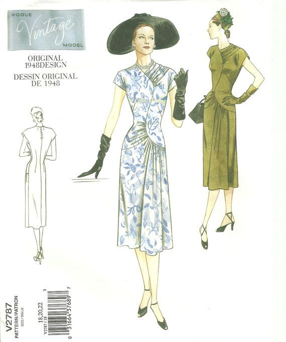 Vogue Vintage Model 2787 / Reproduction Sewing Pattern / 40s Dress ...
