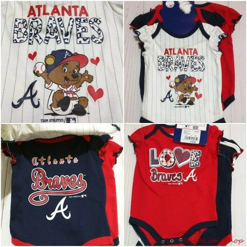 New Atlanta Braves Baby Girls Infant Bodysuit Shirt Creeper Romper Lot Of 3 Mlbmerchandise Everyday Atlant Atlanta Braves Baby Bodysuit Shirt Atlanta Braves