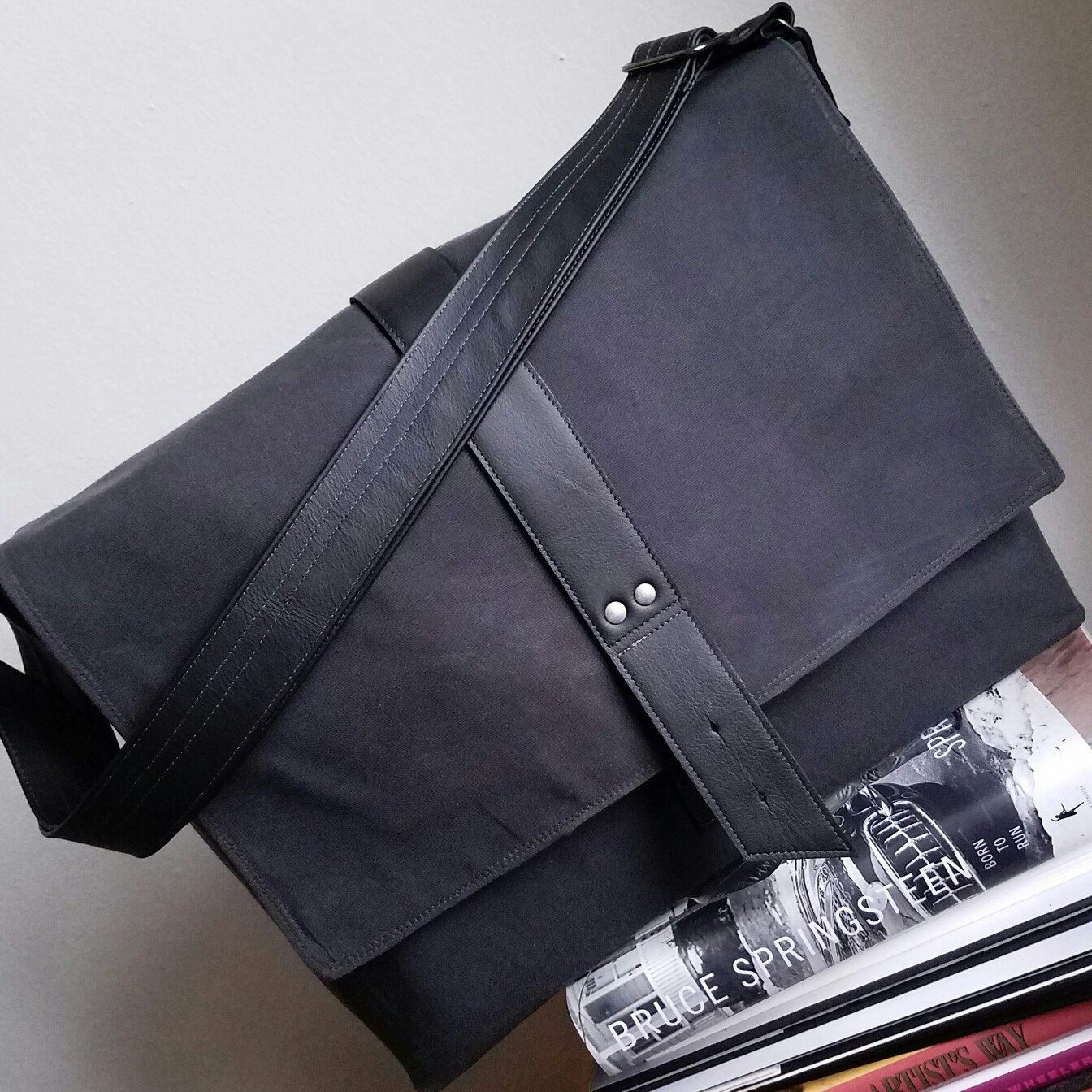 911afed76e4 ... Laptop Sleeves, and more! A handsome, understated take on the waxed  canvas Sloane Messenger  Charcoal with Black leather