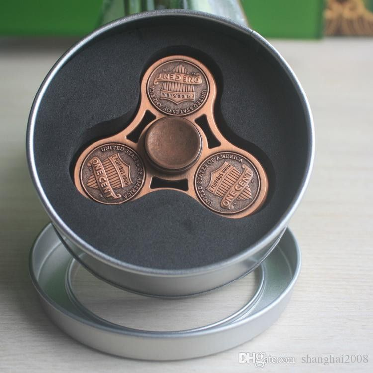 US Dollar America Cent Brass Copper Fidgets Toys Gyro Toys HandSpinner Fingertips Spiral Fingers Fidget Spinner EDC