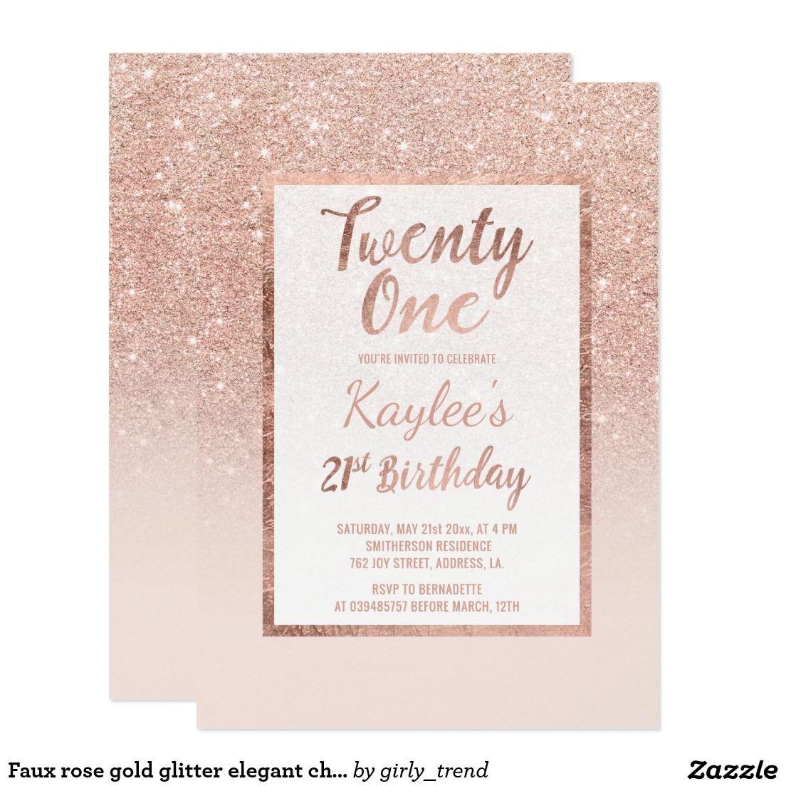 Faux Rose Gold Glitter Elegant Chic 21st Birthday Card