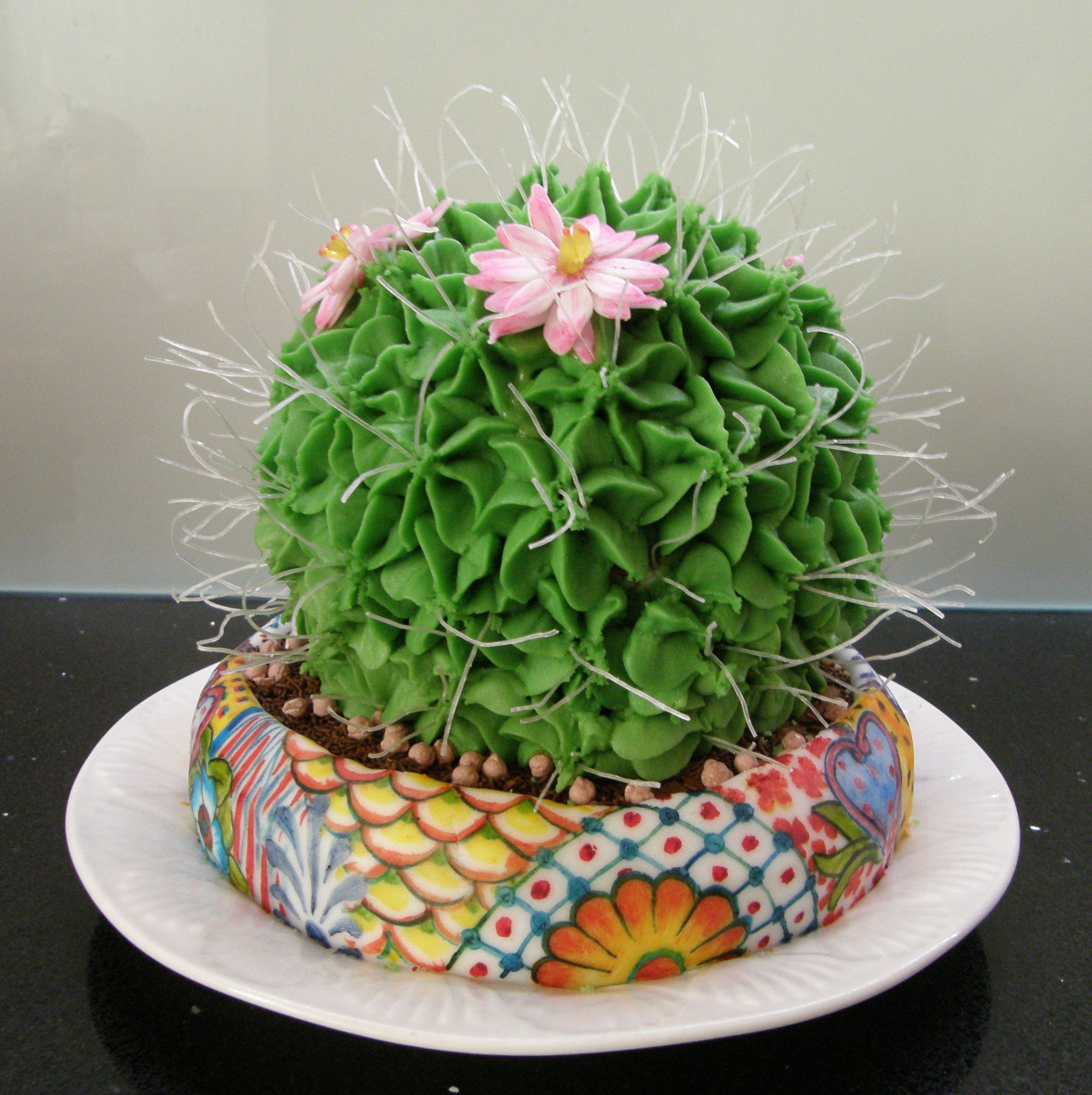 Cactus cake by Pieces of Art Cake Decorating. The pot is ...