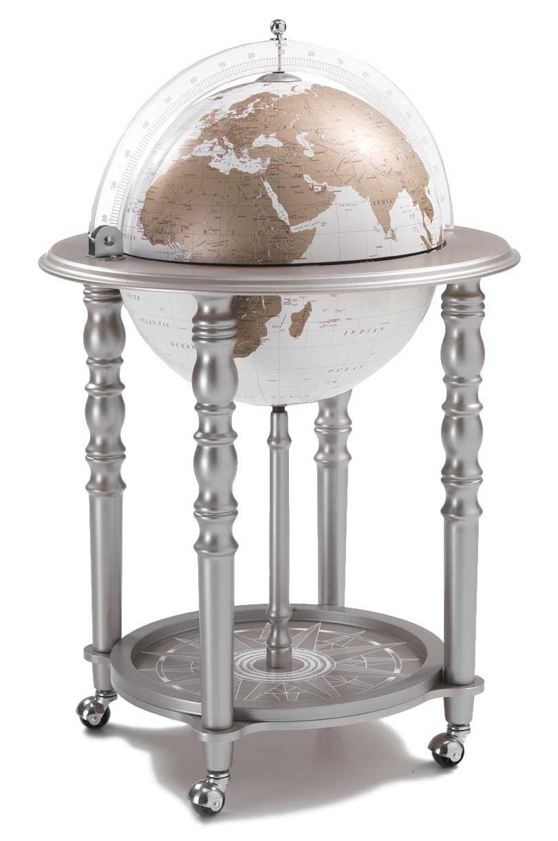 Designer Italian Globe Bar White Gold Globe On Silver Globe Drinks Cabinet Globe Bar Globe Liquor Cabinet