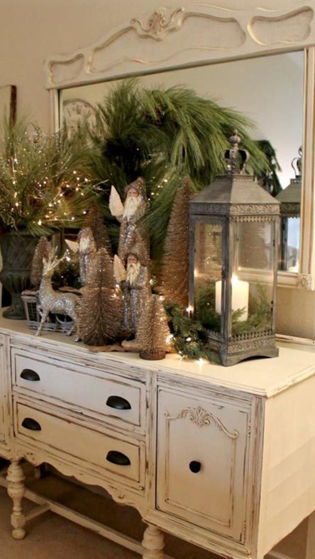 Beautiful winter woodland home decor decorating dresser display christmas woodland santas