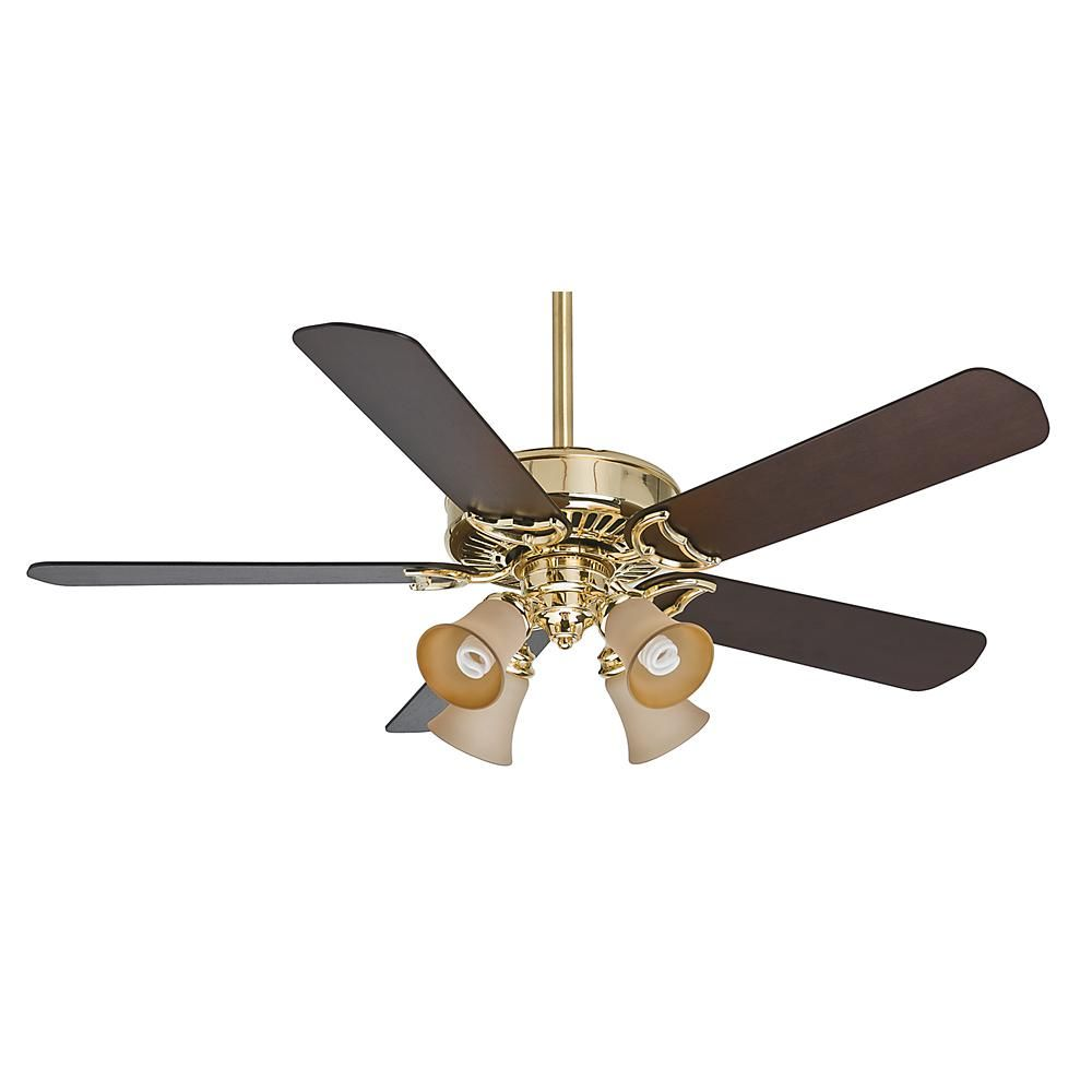 54 Panama Gallery Ceiling Fan Bright Brass Walnut Motor With