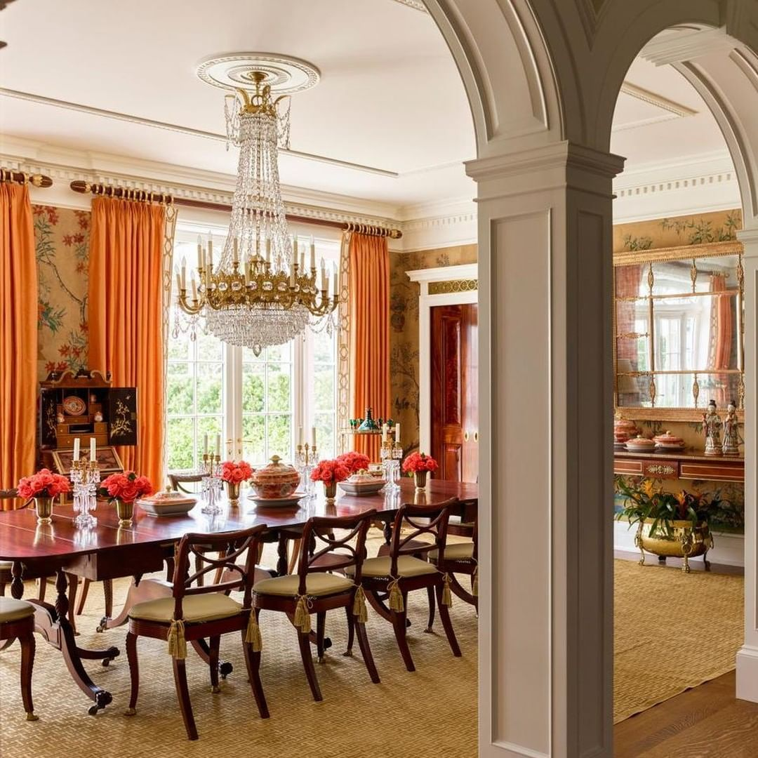 Feeling The Fall Colors In This Grand Dining Room Photo By Ericpiasecki Architecture By Pzarchitects Classic Dining Room Elegant Dining Room Elegant Dining