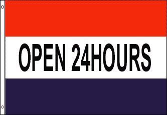 Open 24 Hours Polyester Flag Banner Sign