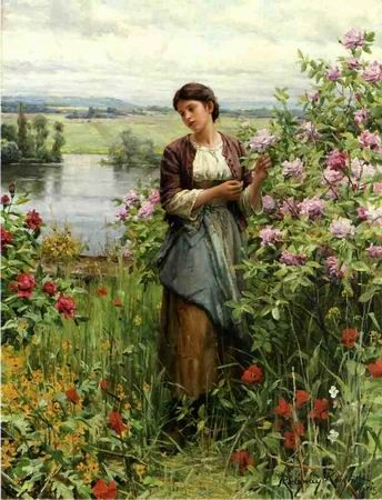 Julia Among the Roses by Daniel Ridgway Knight